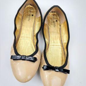 Kate Spade camel & black patent ballet flats 7